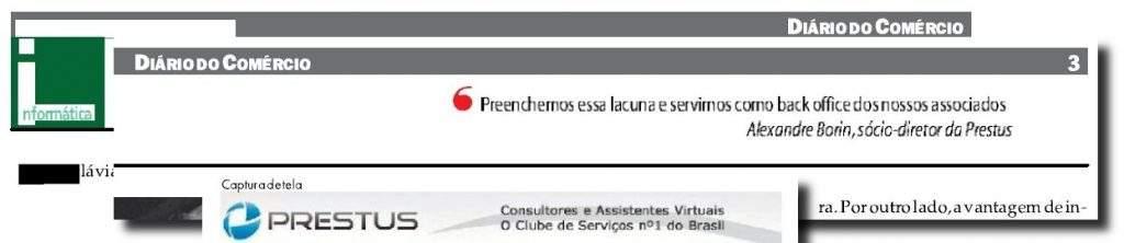 Prestus no jornal Diário do Comércio pt 1