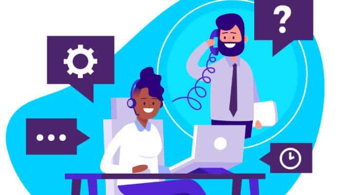 Ilustração sobre atendimento de call center